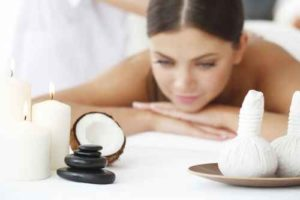 Woman getting spa massage